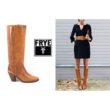 FRYE Boots Size 10 Vintage 70s Knee High Brown Stacked Heel Boots