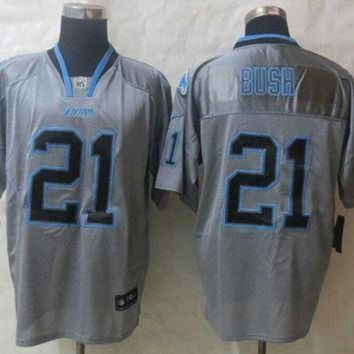 PEAPYD9 Nike Detroit Lions #21 Reggie Bush Lights Out Grey NFL Elite Jersey