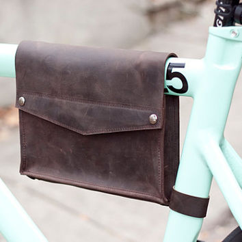 Dark brown leather hanging bicycle bag, bike frame bag