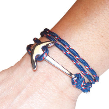 Anchor Bracelet, Navy Blue Paracord, Silver Stainles Steel clasp