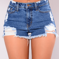 Oceana Denim Shorts - Medium Blue