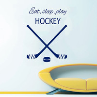 Hockey Wall Decal Quote Eat Sleep Play Hockey Sport Boy Room Decor Gym Home Design Interior Vinyl Sticker Living Room Decor Art Murals KY92