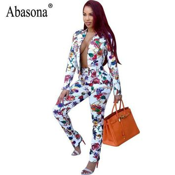DCCKWQA Abasona Printed Women Jumpsuits Autumn Long Sleeve Two Piece Outfits Office Ladies Casual Wear Jumpsuit Female Party Overalls