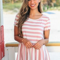 Rose Striped Short Sleeve Babydoll Top
