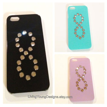 Bkack Blue Lavender Hard Case studded with by LivingYoungDesigns