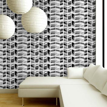 Stone Collection Herringbone Print in Black & White
