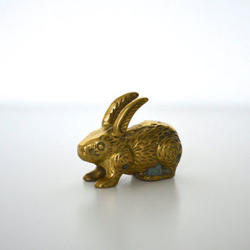 Easter decor brass rabbit figurine by SCAVENGENIUS on Etsy