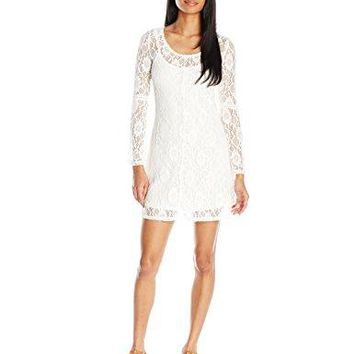 Almost Famous Womens Long Bell Sleeve Solid Lace Dress
