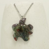 Sea turtle pendant Pottery pendant Galaxy pattern