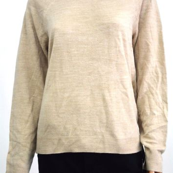 Karen Scott Women's Mock Neck Long-Sleeves Beige Solid Knitted Sweater Top L