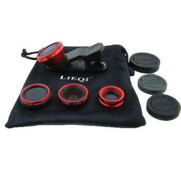 LIEQI LQ008 super wide-angle fisheye macro effects CPL filter Four cell phone camera Red