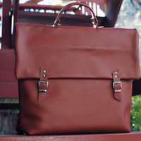 Brown Genuine Leather Unisex Backpack / Cycling Bag / Laptop Backpack