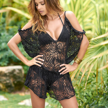 Black Swimwear Cover Up Loose Fitting Romper-Resort Wear