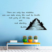 There are only two mistakes one can make Buddha Quote Wall Decal Vinyl Sticker Wall Decor Home Interior Design Art VK5
