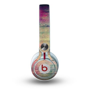 The Pink & Blue Grunge Wood Planks Skin for the Beats by Dre Mixr Headphones