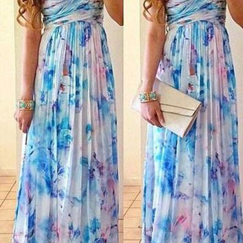 Print sexy strapless chiffon maxi dress