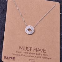 Dainty Compass Charm Necklace - Silver