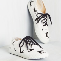 Sporty Favors the Bold Sneaker in Swallows | Mod Retro Vintage Flats | ModCloth.com