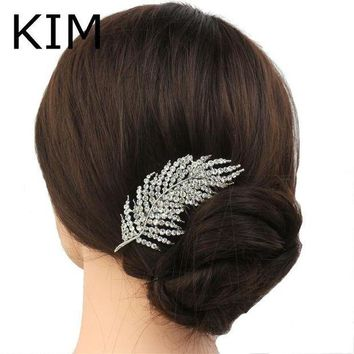 CREYCI7 New feather Shape Austria Crystal Wedding Handmade Shiny Bridal Hair Combs Jewelry vintage hair accessories