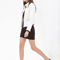 FOREVER 21 Quilted Faux Leather Jacket Cream