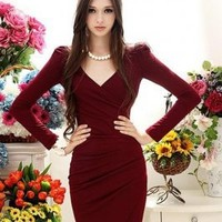 Wholesale Sexy Attractive Pleated V-Neck Puff Sleeve Slim Dress  http://www.wholesale-dress.netPurplish Red