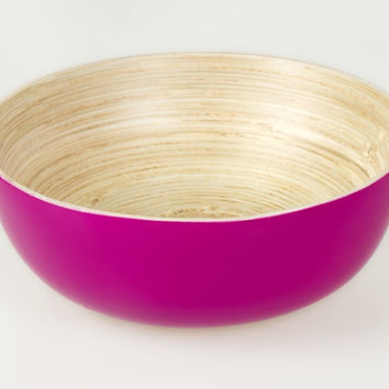 Coiled bamboo footed snack bowls, fuchsia