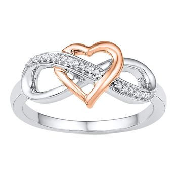 10kt White Gold Womens Round Diamond Rose-tone Heart Infinity Ring 1/20 Cttw