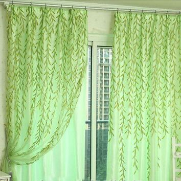 DCCKU7Q Super Deal Willow Tulle Door Window Curtain Drape Panel Sheer Scarf Valances 100X200cm XT