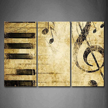 Note And Piano'S Keys In The Paper Wall Art Painting Pictures Print On Canvas Music The Picture For Home Modern Decoration