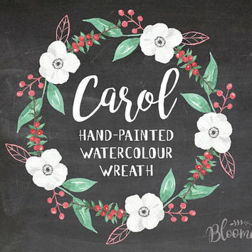 Watercolour Holidays Christmas Wreath Clipart - Hand Painted Leaves INSTANT Download PNG & JPEG Green Red Wedding Digital Elegant Garland