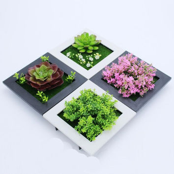 Black White Creative 3D metope succulent plants Imitation wood photo frame wall decoration artificial flowers home decor Room