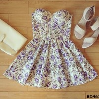 Mikayla Floral Retro Bustier Dress with Adjustable Straps