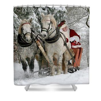 Santa Sleigh With Horses - Shower Curtain