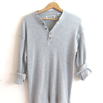 vintage gray long sleeve top. button front henley. minimalist shirt. Bugle Boy long underwear shirt