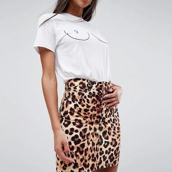 ASOS Denim Original Skirt in Leopard at asos.com