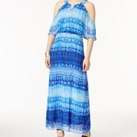 $60 New NY Collection Women's Cold Shoulder Printed Blue Maxi Dress Size XL