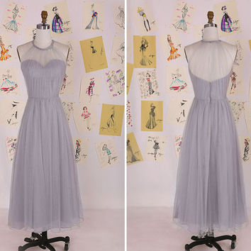 Grey Halter Tulle Long A Line Bridesmaid Dress/Grey Long Bridesmaid Dress/Wedding Party Dress/Maid of Honor Dress/Long Prom Dress