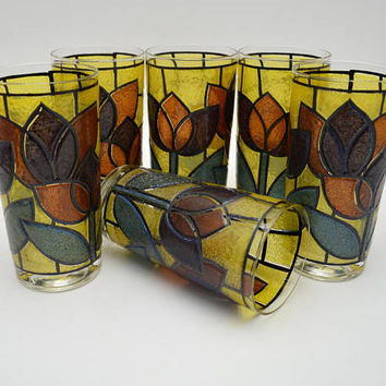 Set of 6 Vintage Tulip Stained Glass Tumblers, Mid Century Water Glasses, circa 1960s-1970s