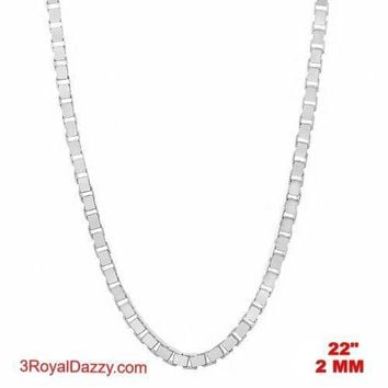 """Italy 14k white gold layered over Solid 925 sterling silver Box Chain - 2 mm 22"""""""