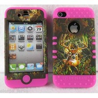 iPhone 4 4S ishield Snap On Hybrid Camouflage Camo Deer Case With Hot Pink