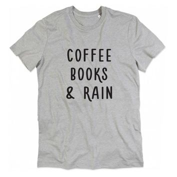 Coffee Books And Rain Printed T-Shirts - Ladies Casual Novelty Top Tee