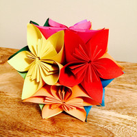 Kusudama Japanese Flower Ball Paper Origami in Rainbow Multi-Colors
