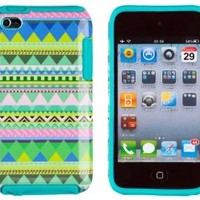 DandyCase 2in1 Hybrid High Impact Hard Mint Green & Pink Aztec Tribal Pattern + Teal Silicone Case Cover For Apple iPod Touch 4 (4th generation) + DandyCase Screen Cleaner