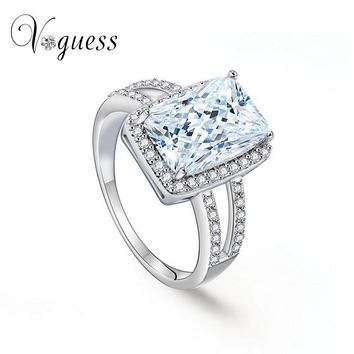 VOGUESS Luxury Prong Setting Wedding Ring Hearts and Arrows Cushion Cut CZ Fashion Zircon Rings for Women