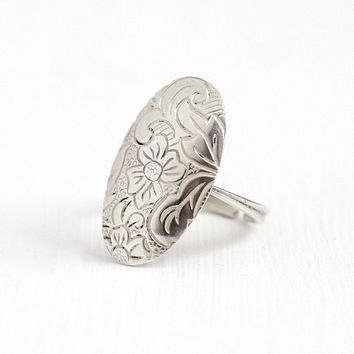 Vintage Sterling Silver Flower & Leaf Design Oval Shield Ring - Retro Size 7 Adjustable Statement Chased Floral Spring Signed Beau Jewelry