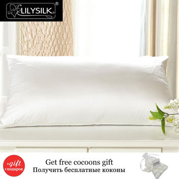 Lilysilk Mulberry Silk Cotton Pillowcase Charmeuse Satin Pillow Cover With Cotton Underside King Queen Standard 1 piece