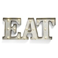 Creative Co-Op 'EAT' LED Marquee Sign - Metallic