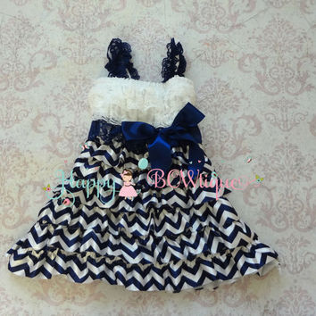 Navy Chevron Petti lace Dress, ruffle dress, baby dress,girls dress,Birthday outfit,girls outfit, flower girl dress,Chevron dress,Navy dress