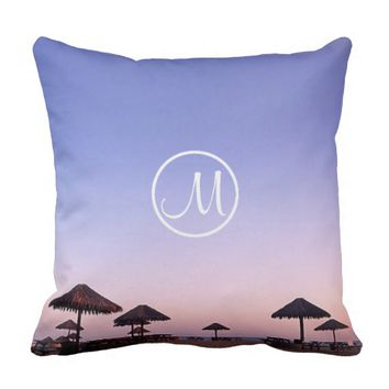 California palapa sunset photo custom monogram throw pillow