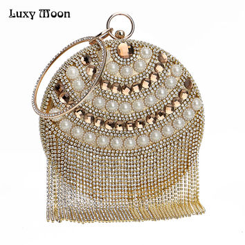 Luxy Moon Women Diamond Wedding bride Bags Gold Clutch Beaded Tassel Evening Bags Party Purse banquet Handbag ZD640